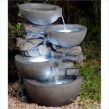 Water Fountain Outdoor Led Lights Garden Patio Sculpture Waterproof 3 Bowls