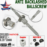 Anti-backlashed Ball screw SFU1605--360mm BF12/BK12&6.35*10mm Couplers for CNC