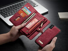 Zipper Wallet Leather Purse Flip Case Removable Cover For iPhone X,Samsung Note8