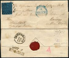 ITALY - DUCHY OF MODENA 1855, 40c VALUE ON ENTIRE FOLD COVER TO AUSTRIA. #Z908