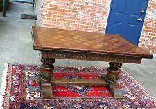 French Antique Oak Renaissance Drew Leaf Dining Table / Kitchen Table / Desk