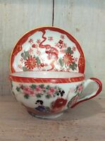 Vintage hand painted, signed Japanese cup and saucer Eggshell