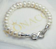 REAL 925 Sterling Silver Freshwater Pearl Bracelet Infinity Bridal Women Jewelry
