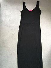 BOOHOO LONG BLACK BODYCOM SLEEVELESS DRESS WITH SLIT UP LEFT SIDE - SIZE S/M