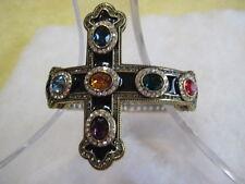 "HEIDI DAUS ""Pure Heaven"" (Size M/L) Enamel/Crystal Cross Bracelet (Orig.$169.95)"