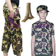 Girls Boys Camouflage Army Green Printed T-Shirt Trouser Hat Bullets Fancy Dress