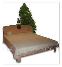 "Zirben-Bett / Massivholzbett aus Zirbenholz mit Fräsung ""Blume des Lebens"""