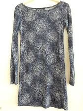 French Connection Blue White Butterfly Print Bodycon Dress Tunic Long Sleeve UK6