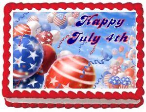 Patriotic July 4th Edible Cake Topper  Licensed - 1/4 Sheet