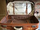 Vintage Zonda Industria Argentina Leather Suitcase With Canvas Cover Initial EH