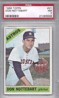1966 Topps baseball card #21 Don Nottebart, Houston Astros PSA 7 NM