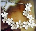Fleur Vintage Chaîne Cristal Collier Ras De Cou Pendentif Bib Imposant Fête