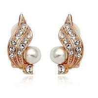 Clip On Cream Ivory Pearl & Rhinestone Crystal Stud Gold Diamante Earrings
