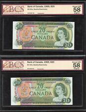 Lot of 2 x 1969 Bank of Canada $20 BCS Graded Banknotes