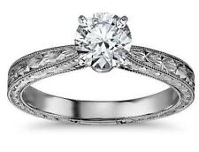 Real 14K Solid White Gold 1.50 CTS Brilliant Cut Engagement Ring with Engraved