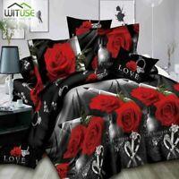 3D Bedding Set Duvet Cover Pillowcase Set Rose Flowers Print Twin/Queen Size 3D