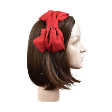 Stylish Girls Headband Large Red Hairband w/ Wool Hair Bow Hair Accessory