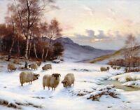 Oil painting wright Barker - flock sheep in winter sunset landscape & stream art