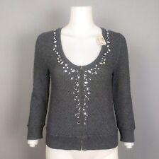 0a71ed21c33 American Eagle Gray Jeweled Cardigan Embellished Sweater 3 4 Sleeve Medium