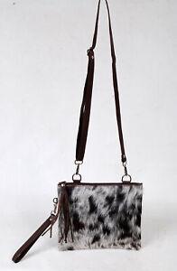 Real Cowhide Cross body Purse Handbag & Hand Clutch  Cow Hide Leather  SA-6656