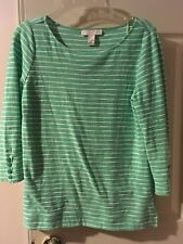 Forever 21 mint green stripe 3/4 sleeve knit tee small