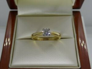 Exceptional 18ct Yellow Gold Diamond Solitaire Engagement Ring Size L