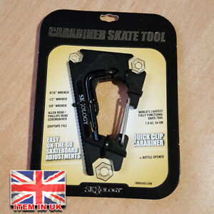 sk8ology Skateboard Carabiner Mini Tool - Black Design - New in Retail Pack