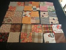 50 Quilt Blocks - 8-1/4 in Bold Bright Mix of Fabric - Machine-Stitched Vintage
