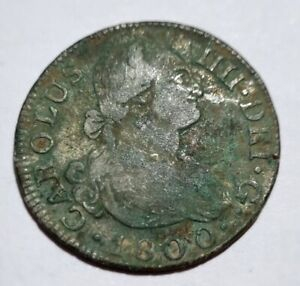 1800 2 REALES SILVER COIN MADRID MINT SPAIN CAROLUS III USA 5.97g UNCLEANED COIN