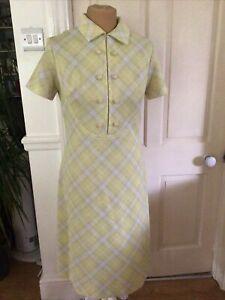 Genuine Vintage Dress  Acid Lime Check Design Size 12/14 1970's