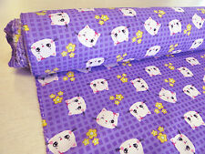 by METRE PURPLE cotton fabric KAWAII cute kitty CATS gingham check kids girls