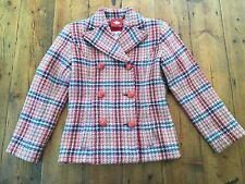 OILILY NWOT Girls Pink Plaid Wool Coat Jacket- Size 7/8 128- Retails $220