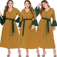 Boho Polka Dot abaya Women Maxi Dress Long Kaftan Jilbab Islamic Dubai Holiday