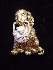 """JJ"" Jonette Jewelry Gold & Silver Pewter ""Adorable DOG & Cat in BASKET"" Pin"