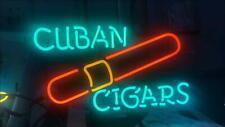 "Cuban Cigars Open Neon Lamp Sign 17""x14"" Bar Light Glass Artwork Display"