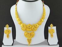 Indian Bollywood Fashion Jewelry Gold Plated Wedding Necklace Earring Women Set