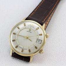 Vintage Jaeger LeCoultre Two-Tone Memovex Memodate  Calander Alarm Wristwatch