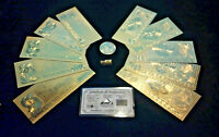 ☆7Pc.LOT~COIN&FLAKE+.999 GOLD GERMAN MARK BANKNOTE REP.*SET(10-100)+SILVER BAR