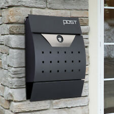 Lockable Mail Box Post Letter Wall-mounted Front Loading Newspaper Slot Steel