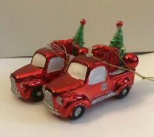 Red Pick Up truck with tree and Christmas gift Holiday Time Ornament Lot Of 2