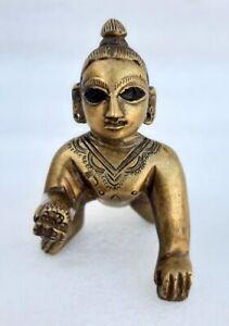 Vintage Old Brass Hindu God Baby Krishna Miniature Figurine Hand Carved Statue
