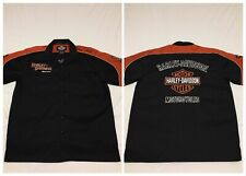 MINT Harley Davidson Black Orange Embroidered Logo Work Button Shirt Mens Large
