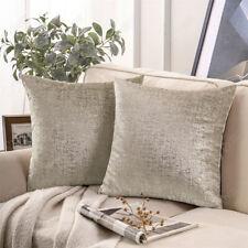 Cushion cover beige silver decorative pillowcase sofa couch silver foil printed