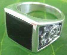"925 sterling silver Dragon ""Square"" Black Onyx ring size 6.5 US to 11.75 - MEN"