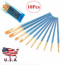 10Pcs/Set Professional Artist Oil Paint Brush Set Art Brushes Round Flat Pointed