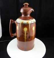 "KES SIGNED ART POTTERY DRIP GLAZE BROWN 11 5/8"" INSULATED THERMOS"