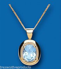 Blue Topaz Pendant Blue Topaz Necklace Yellow Gold Blue Topaz Pedant Large Stone