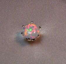 1/3 CT PLUS ROUND FIERY OPAL MENS SILVER TIE TACK PIN LAB GROWN