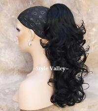 Black Ponytail Long Curly Hairpiece Extension Clip in on Layered  Hair Piece