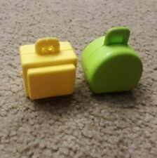 Vtg Fisher Price Little People Lot of 2 Suitcases/Luggage Set w/Imperfections